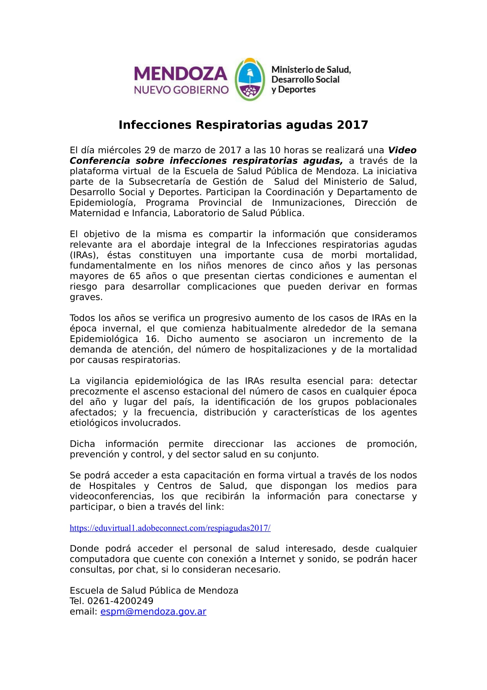 Video Conferencia Infecciones Respiratorias agudas 2017-B-2-1